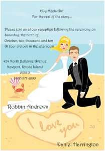 wedding invite formats heart in the sand wedding reception invitations