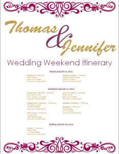 wedding itinerary template flourish fig