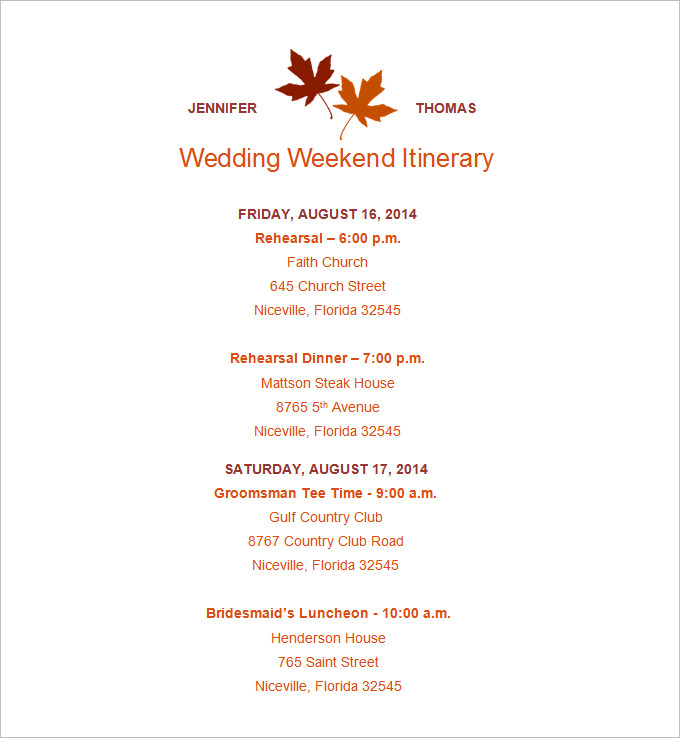 wedding itinerary template