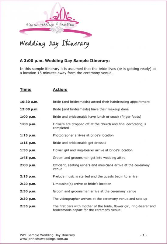 Wedding Itinerary Template  Template Business