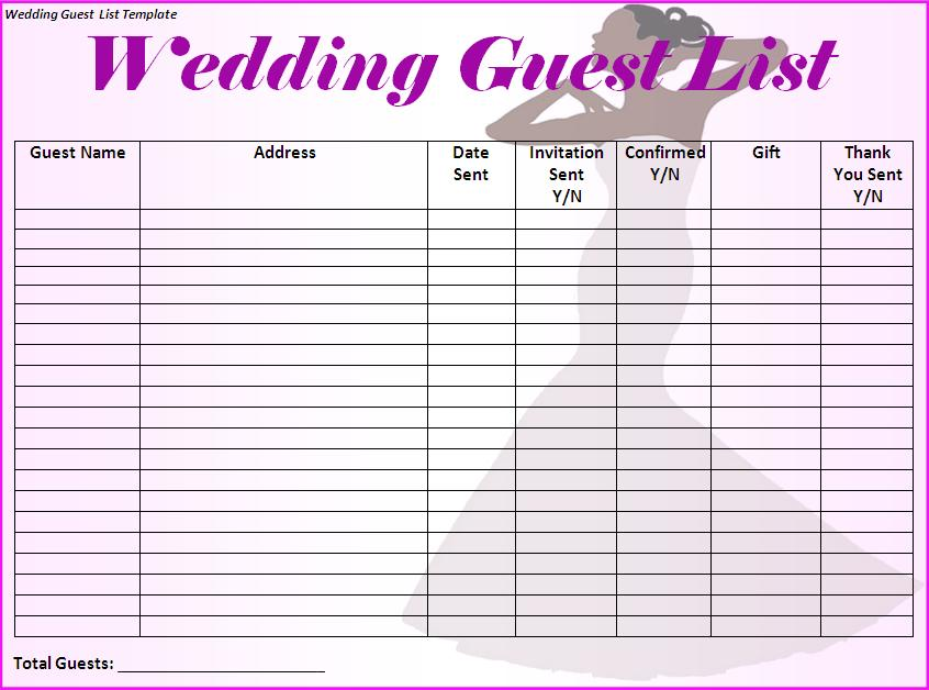 wedding list template