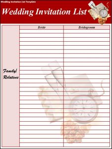 wedding list template wedding invitation list template