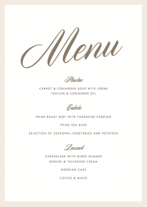 wedding menu samples luxe menu x