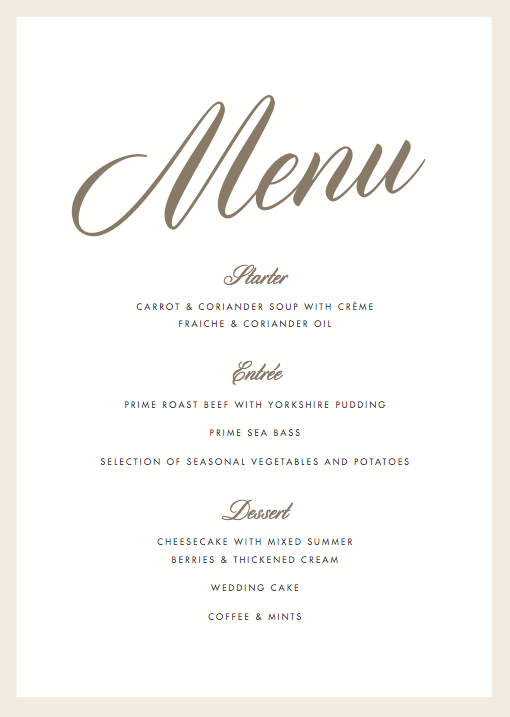 wedding menu samples
