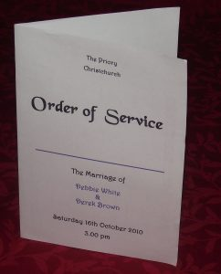 wedding order of service order of service covers personalised wedding elegant design various colours x p