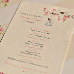 wedding order of service original order of service love birds