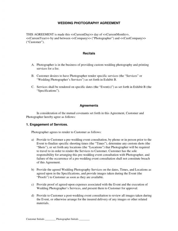 Wedding Photographer Contract  Template Business