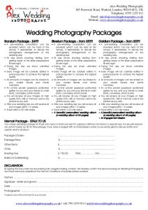 wedding photographer contract wedding photography booking form and contract