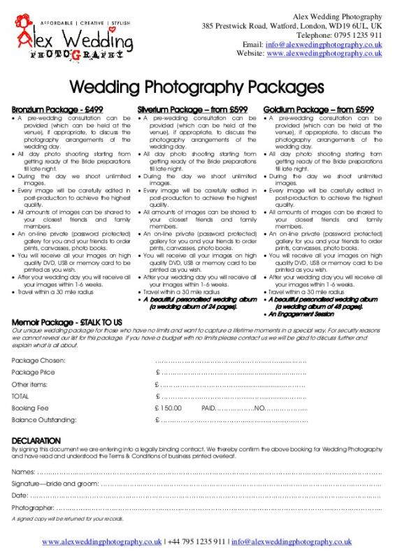 wedding photographer contract