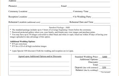 wedding photographer contract wedding photography contract template