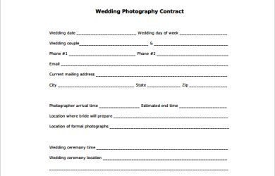 wedding photography contract pdf wedding photography contract