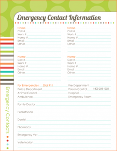 wedding plan templates emergency contact template
