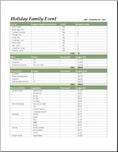 wedding plan templates holiday family event checklist