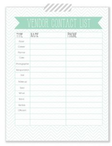 wedding planners templates free printable wedding contact list