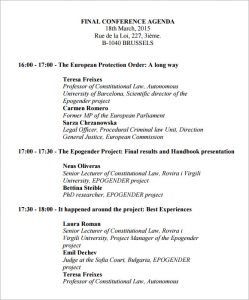 wedding program example conference agenda format