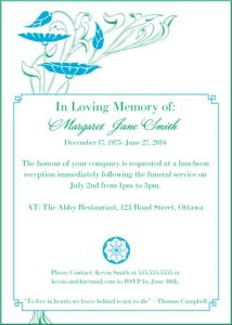 wedding program example example funeral reception invitation