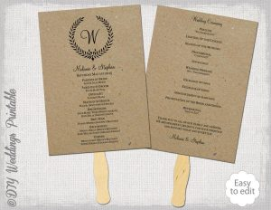 wedding program fan templates rustic wedding fan program template quotleaf garlandquot diy order of ceremony printable program fan you edit digital download for kraft paper