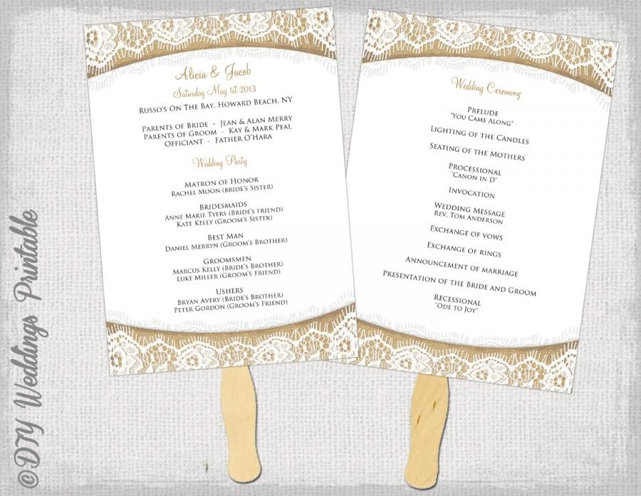 wedding program fan templates
