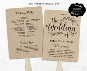 wedding program fans template fan model wedding program template download