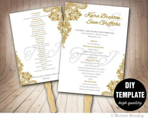 wedding program fans template gold wedding program fan template diy instant download printable wedding fan programgold wedding fan programclassic weddinggold program