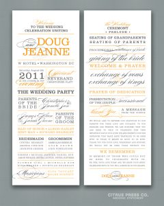 wedding program sample block text word style program long
