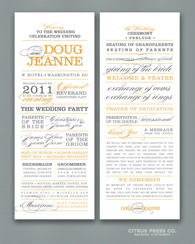 Wedding Program Sample  Template Business