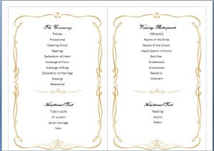 wedding program template word family wedding