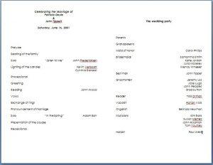 wedding program template word marraige ceremony invitation template