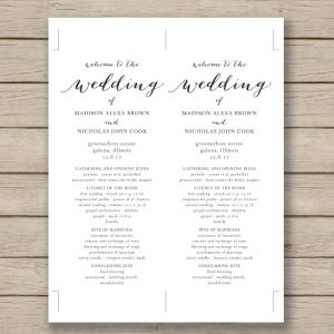 wedding program template word print ready wedding program template download
