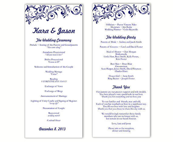 wedding program template word template business