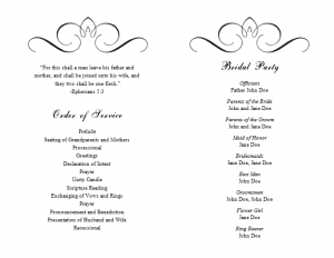 wedding program template word wedding program templates word