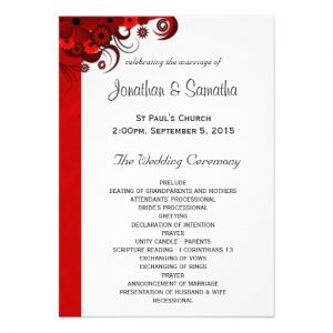 wedding reception program template floral red hibiscus wedding program templates invitation rabcdffdadfbf imtzy byvr