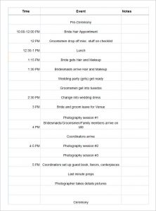 wedding schedule template free wedding day schedule template