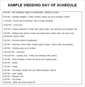 wedding schedule template sample wedding day of schedule template free