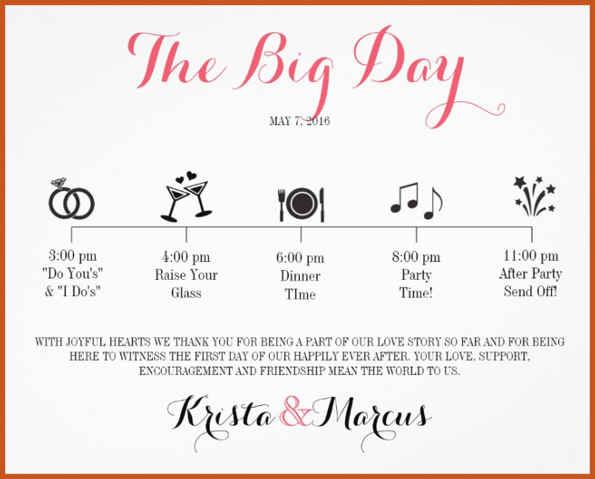 wedding schedule template