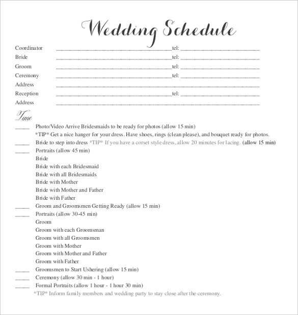 wedding schedule templates