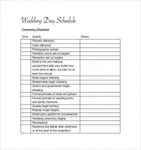 wedding schedule templates wedding schedule to download