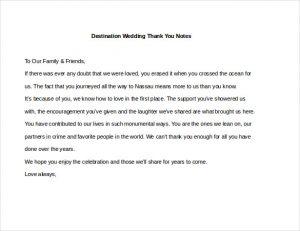 wedding thank you note examples destination wedding thank you notes