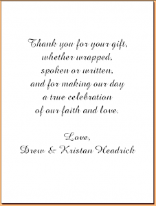 wedding thank you note examples headrick sample thank you inside