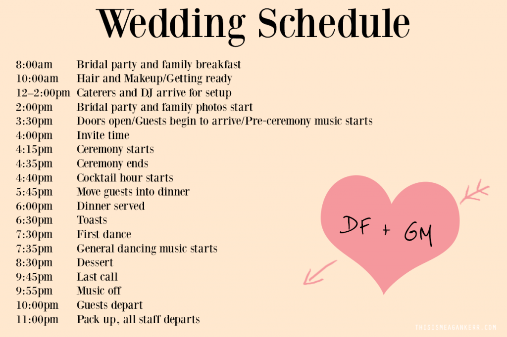 Wedding Day Schedule Template Wedding Photography - Wedding day itinerary template