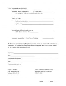 wedding venue contract contract agreement for wedding photography
