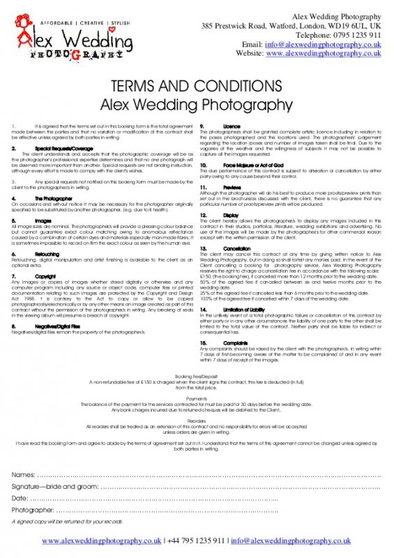 banquet hall contract template - wedding venue contract template business