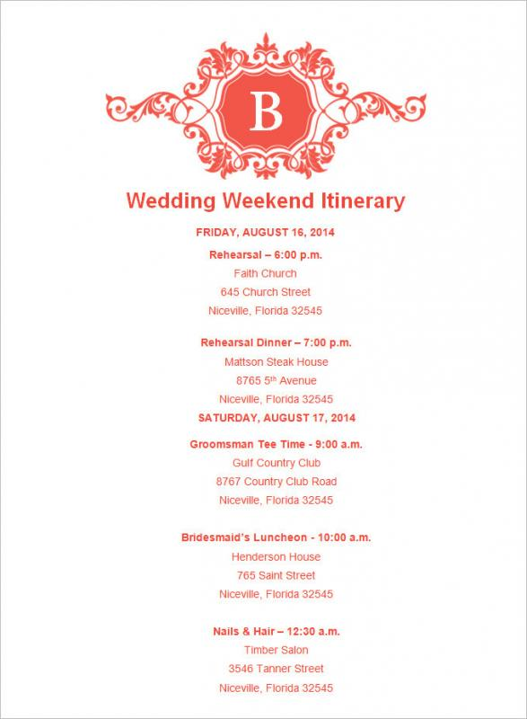 wedding weekend itinerary