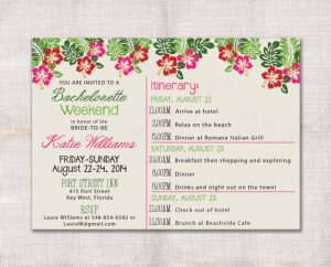 wedding weekend itinerary template bachelorette party weekend invitation and itinerary custom printable x