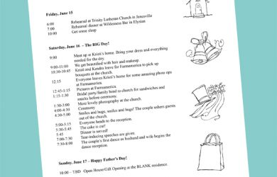 wedding weekend itinerary template sampleitineraryweb