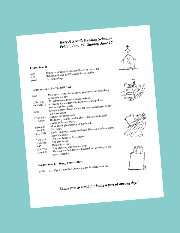 Wedding Weekend Itinerary Template  Template Business