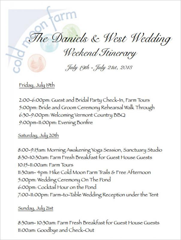 Wedding Weekend Itinerary Template Template Business - Wedding day itinerary template