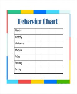 weekly behavior charts daily behavior chart template for kindergarten