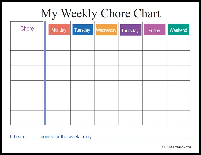 weekly chore chart template business