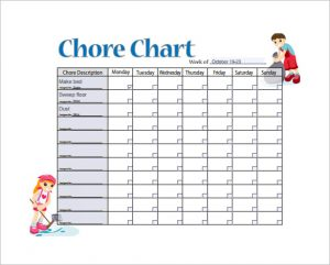 weekly chore chart sample weekly chore chart template